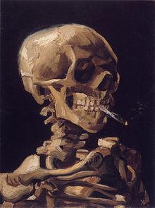 Vincent van Gogh: Crâne de squelette fumant une cigarette
