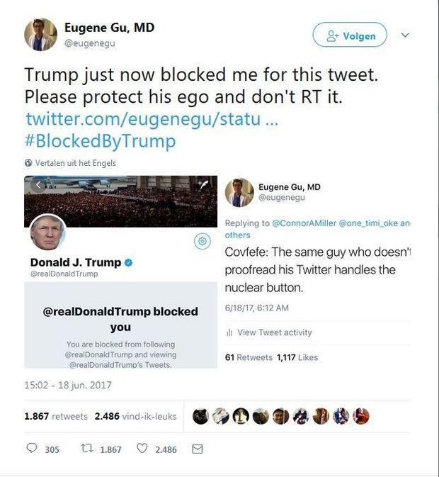 Amerikaans arts klaagt Trump aan voor blokkeren op Twitter