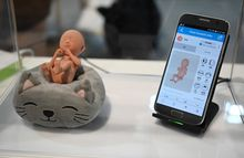De VR Foetus app van de Zuid-Koreaanse start-up GirjaeSoft., Robyn Beck/AFP
